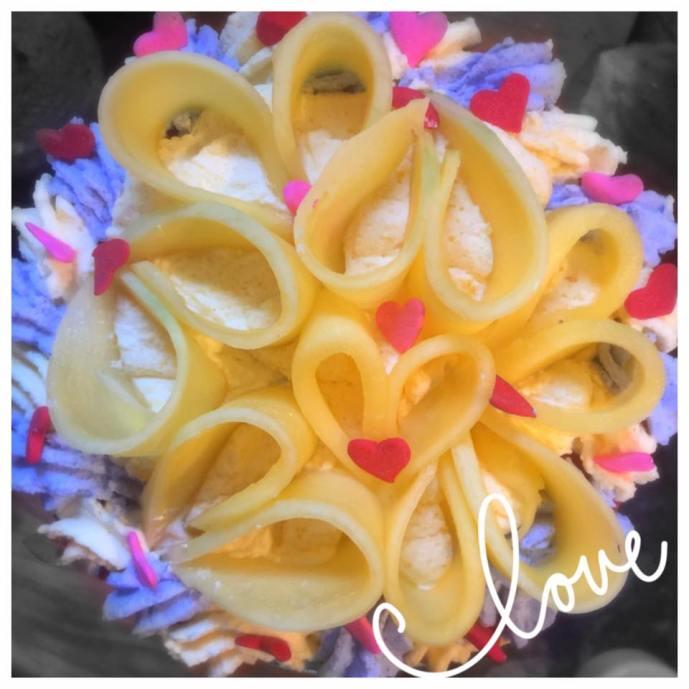 First birthday cake with fresh mangos