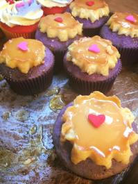 Ube cupcakes with flan topping