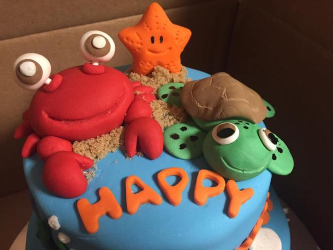 Under the sea first birthday cake, cake toppers